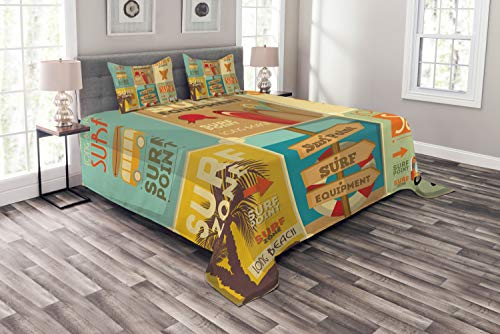 (Lunarable Surf Bedspread Set Queen Size, Retro Posters Composition Summer Vacation Theme Hobby Water Sports California Beach, Decorative Quilted 3 Piece Coverlet Set with 2 Pillow Shams, Multicolor)