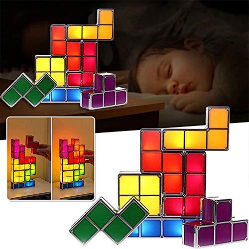 Lampara de mesa apilable Tetris, lampara LED Tangram Puzzles, lampara de escritorio de enclavamiento por induccion 3D, lampara de juguete divertida para ninos y decoracion, STEAM Teach aid