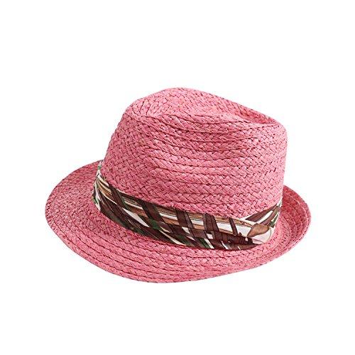 Women Sun Hats Fashion Cotton Cloth Decoration Hat Raffia Ladies Hat,Pink YS-33,M (56-58cm) -