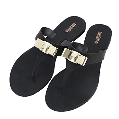2d3896cd8dca2e heipeiwa Women s Bow Flip Flops Sandals Jelly Flats Summer Beach Slippers  Thong Sandals Black