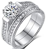 TEMEGO 14k Stackable CZ Bridal Sets Wedding Rings,Vintage Engagement Rings Milgrain Edges,Size 6