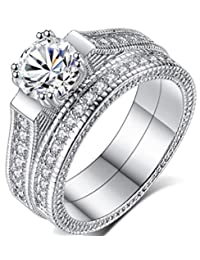 Platinum Silver Wedding Ring Sets for Women,2pcs Bridal Engagement Ring with Cubic Zirconia