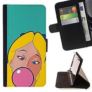 Momo Phone Case / Flip Funda de Cuero Case Cover - Masticar Chicle Rosa Chica Mujer Rubia - Samsung Galaxy S6 Active G890A