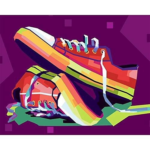 Pintura de bricolaje por numeros, zapatos de colores, pintura al oleo pintada a mano, lienzo para colorear, pintura acrilica, lienzo, decoracion del hogar, arte de pared, pintura al oleo digital DIY