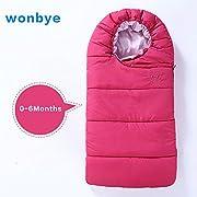 wonbye Infant Bunting Bag, Muslin Swaddle Blanket, Newborn Bunting Bag (Fuchsia 0-6 Months)