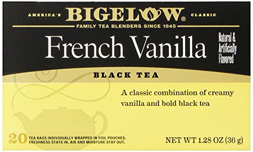 Bigelow French Vanilla Tea 20 Bags (Pack of 6), Premium Black Tea Flavored with Vanilla, Antioxidant-Rich Gluten-Free Full-Caffeine Tea in Foil-Wrapped Bags