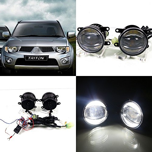 July King 1600LM 24W 6000K LED Light Guide Q5 Lens Fog Lamp +1000LM 14W Day Running Lights DRL for Mitsubishi Triton 2008~ON