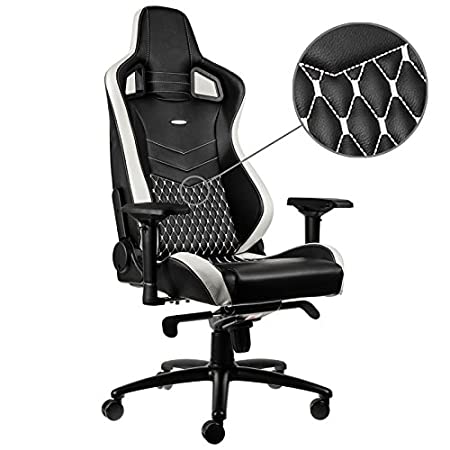 office chair genuine leather white. Noblechairs EPIC Real Leather Gaming Chair - Black/White/Red With Genuine Office White C