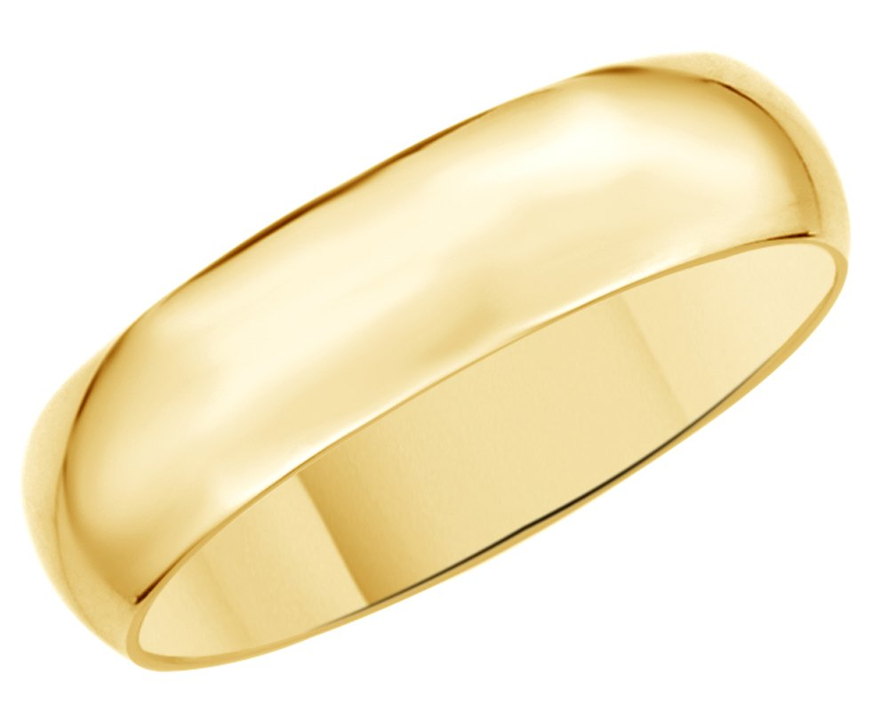 Solid 14K Yellow Gold 5mm Comfort Fit Men & Women Wedding Band Ring
