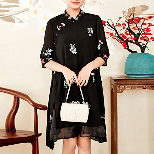 Black Mezza Joyiyuan Xl Black Size Abito Vintage Donna Fiori color Motivo A Manica Con Ricamato Floreale Da wIaqHrI