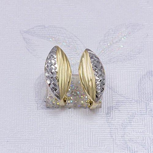 ASS en or 585Paire bicolore 0.15Cts Boucles d'oreilles diamantée