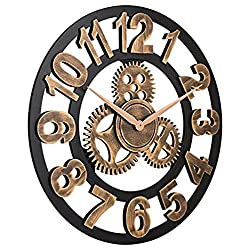 Gear Wall Clcok 18-Inch Silent Wall Wooden Clock French Country Tuscan Style Roman Numeral Design Clock Wall Decorative Clocks for Bedroom Living Room Bathroom Office Cafe