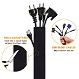 Cable Management Sleeve, Bestfy Cord Organizer System - 19.5 inch Flexible Cable Sleeve with Zipper, Wire Cover, Cable Wrap, Cord Sleeves for TV, Computer, Office, Home Entertainme