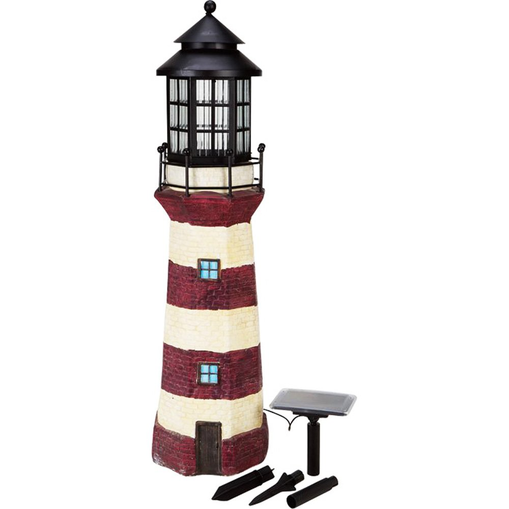 HONGVILLE Large Landscape Spotlights Garden Decor Solar Powered Lighthouse, Brown/Ivory