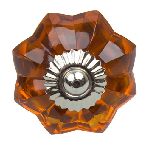 GlideRite Hardware 110170-A-10 1.75 inch Amber Colored Glass Flower Cabinet Knobs 10 ()