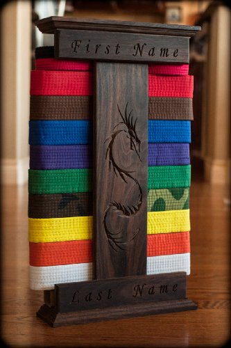 Personalized Walnut Karate Belt Display Dragon Engraved