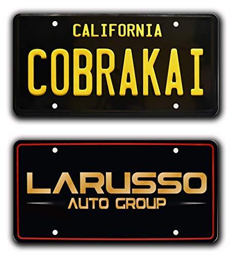 Celebrity Machines Cobrai Kai   Ralph Macchio William Zabka   Cobra Kai + LARUSSO   Metal Stamped Vanity License Plate Combo
