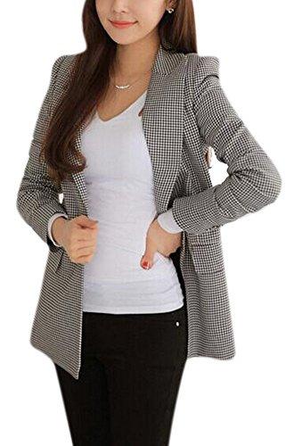 監督する誰が維持するenlishop女性のエレガントな長袖格子柄チェックラペルスリムジャケットブレザーグレー