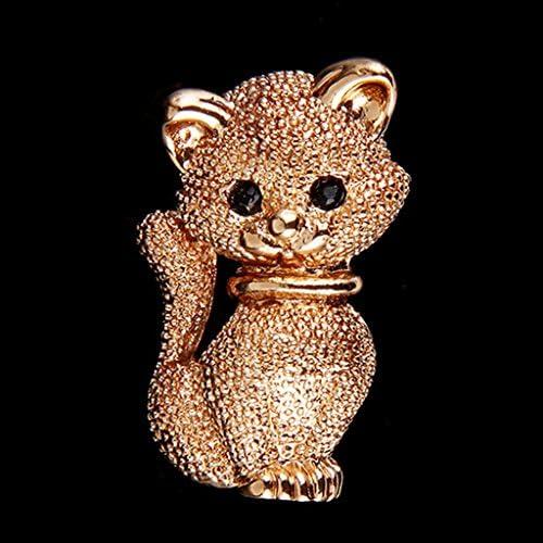 ブローチ スーツ 帽子 女性 猫 可愛い 衣装ジュエリー ゴールド