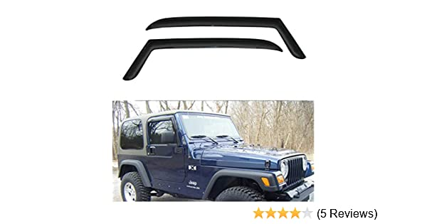 CT Wind Visor Deflectors Set of 4-Piece Dark Smoke Window Air Guard Deflectors for Protection Against Snow Sun and Rain Compatible with Jeep Renegade 2014-2018 Car Ventvisor Door Side