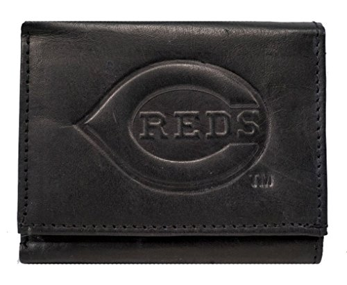 Cincinnati Reds MLB Embossed Logo Black Leather Trifold Wallet