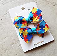 Autism Small Double Hair Clips, Hair Bows, Autism Awareness