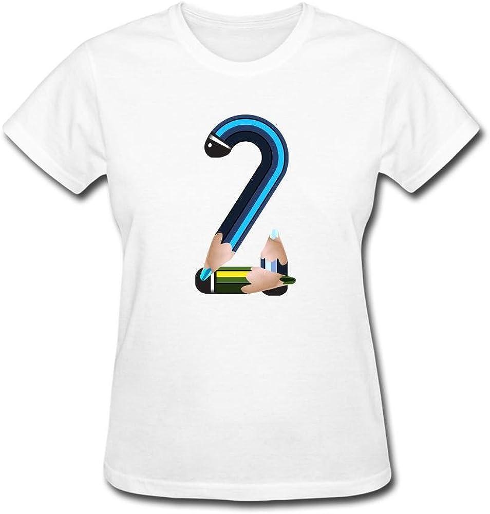 lonsan lápiz de la mujer número dos de manga corta T-Shirt blanco
