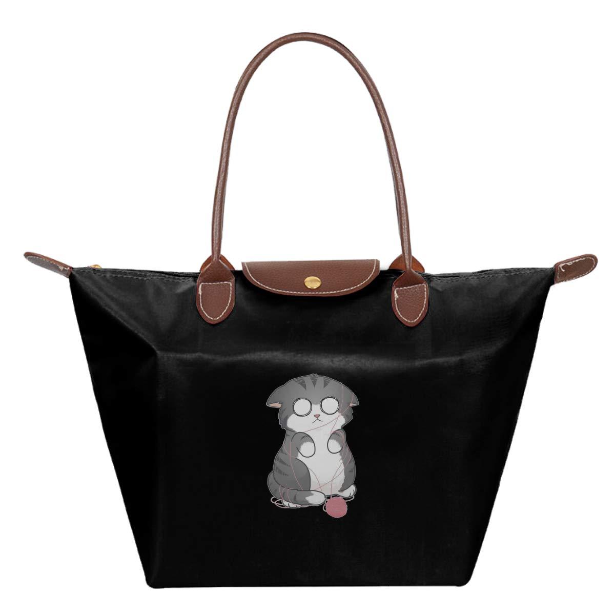Confused Kitty Waterproof Leather Folded Messenger Nylon Bag Travel Tote Hopping Folding School Handbags