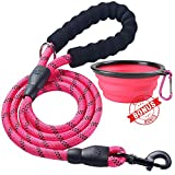 #5: Ladoogo Heavy Duty Dog Leash - Comfortable Foam Handle, 5 ft Long - Dog Leashes for Medium Large Dogs with A Free Collapsible Pet Bowl (Pink)