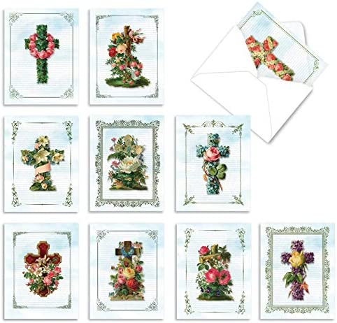 10 Thank You 'Cross Cards' and Gratitude Cards with Envelopes 4 x 5.12 inch – Greeting Cards, Say Thanks for Weddings, Baby Showers and Thanksgiving M6466TYG – NobleWorks