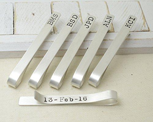 Groomsmen Set of 6 Sterling Silver Tie Clips - Love it Personalized by Love It Personalized