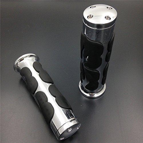 Grips Billet Flame - HTTMT- Replacement of Motorcycle Custom Flame Billet Aluminum w/Rubber Hand Grips Handlebar Grips 22mm 7/8