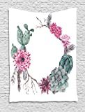 Ambesonne Succulent Tapestry by, Summer Vintage Floral Wreath Boho Chic Style Branches Feathers, Wall Hanging for Bedroom Living Room Dorm, 60 W X 80 L Inches, Sage Green Light Pink Mauve