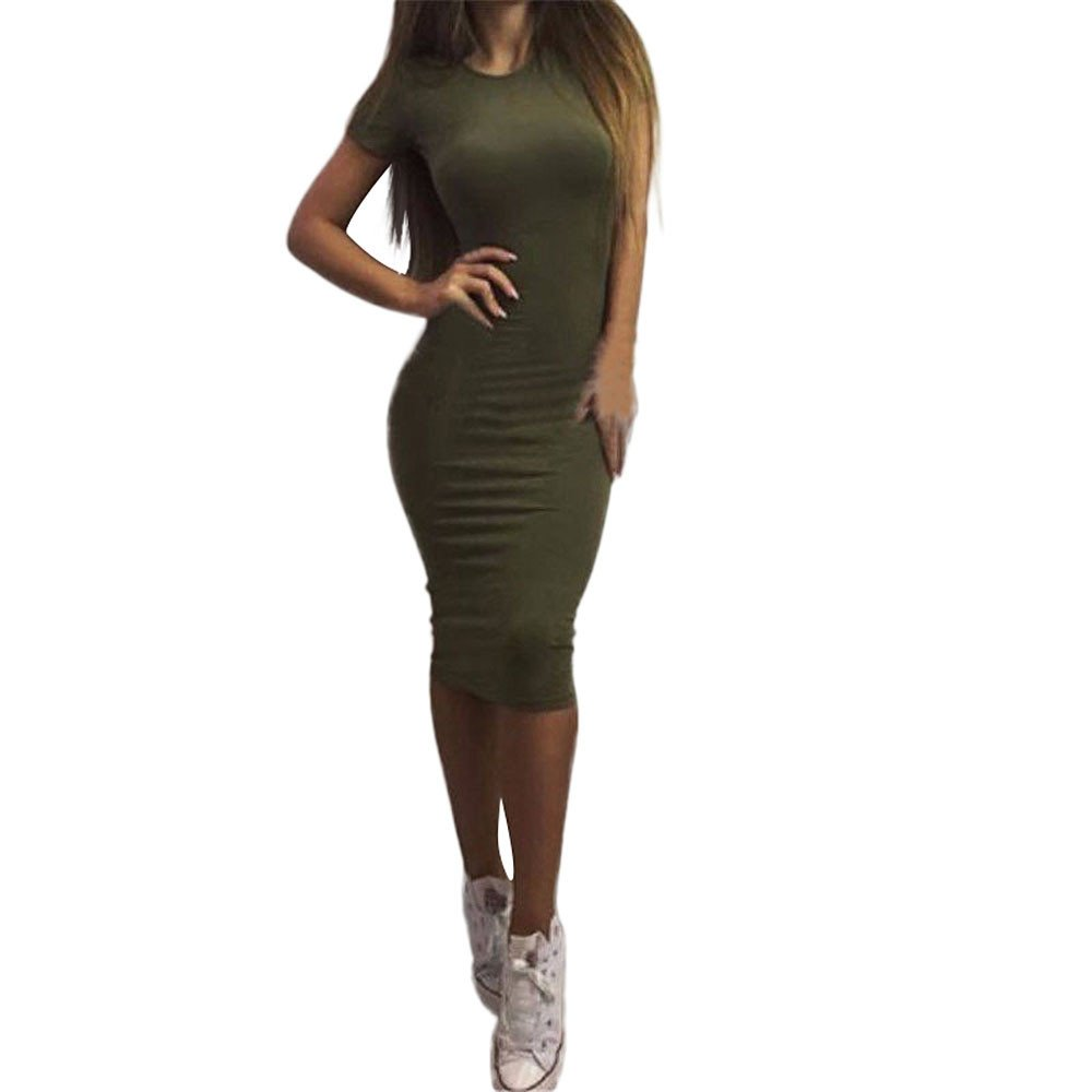 BB67 Casual Bodycon Dress Womens Solid Short Sleeve Sexy Ladies Beach White Evening Party Slim Maxi Dresses