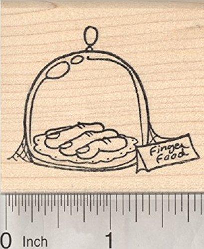 Halloween Rubber Stamp, Finger Food, Ghoulish Food Under Glass]()