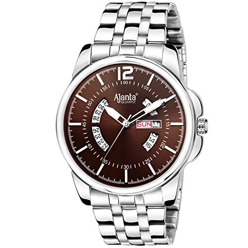 Ajanta Quartz AWC048-2-BRS-SL-SS Analogue Brown Dial with Day and Date Stainless Steel Belt Men's Watch (B07RPMQND1) Amazon Price History, Amazon Price Tracker