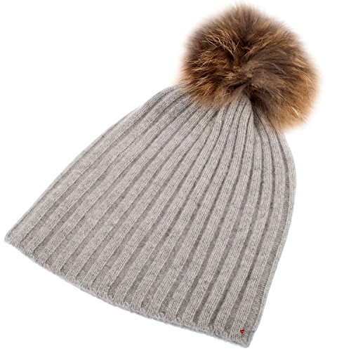 Pom Oyster Cashmere Pom Hat Pom Rib Luxurious Luv Pom I Style LTD with Grey Detachable tqRxS7nwTO