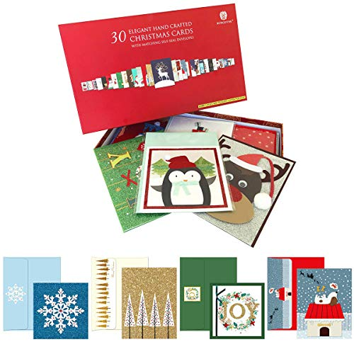 Burgoyne 30 Elegant Hand Crafted Christmas Cards with Matching Self-Seal Envelope (Christmas Handmade Cards Elegant)