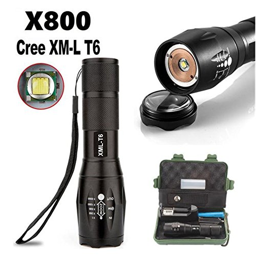 Flashlight,LandFox G700 X800 Zoomable XML T6 LED Tactical Flashlight+18650 Battery+Charger+Case