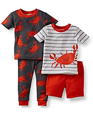 Baby Boys 4-piece Pajama Set (6 Months, Red/Grey Crab)