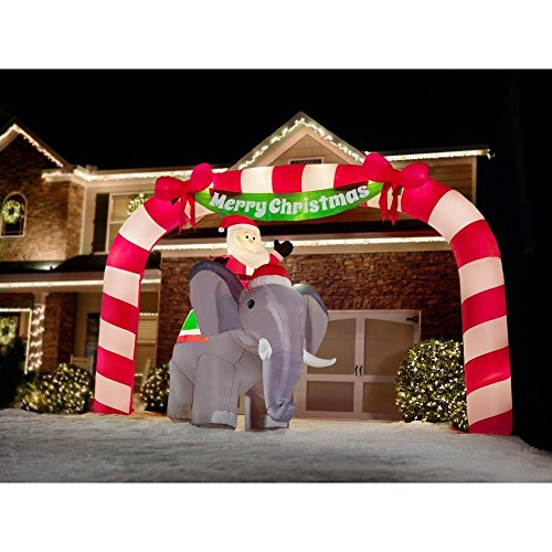Home Accents Holiday 88.58 in. W x 122.05 in. D x 125.98 in. H Lighted Inflatable Santa on Elephant Scene by Home Accents (Image #2)