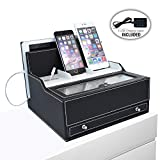 iCozy Charging Valet: Office / Desk Organizer & Electronics Caddy Faux Leather Station Black