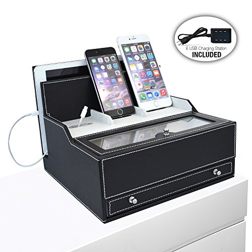 iCozy Charging Valet: Office / Desk Organizer & Electronics Caddy Faux Leather Station Black by iCozy