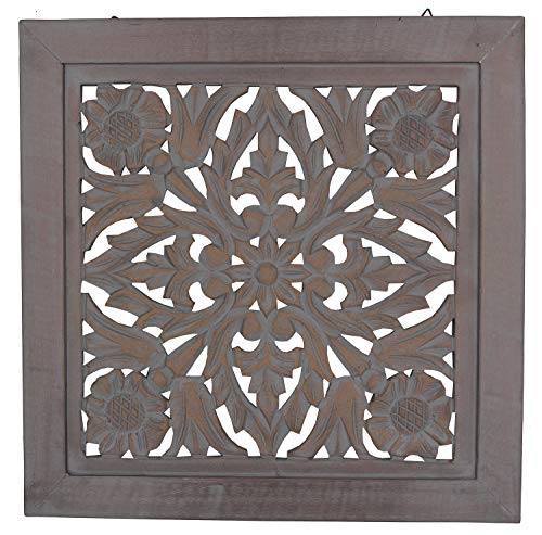 "DharmaObjects Handcrafted Lotus Wood Wall Panel Decor Hanging Art 16"" X 16"" (Grey) from DharmaObjects"