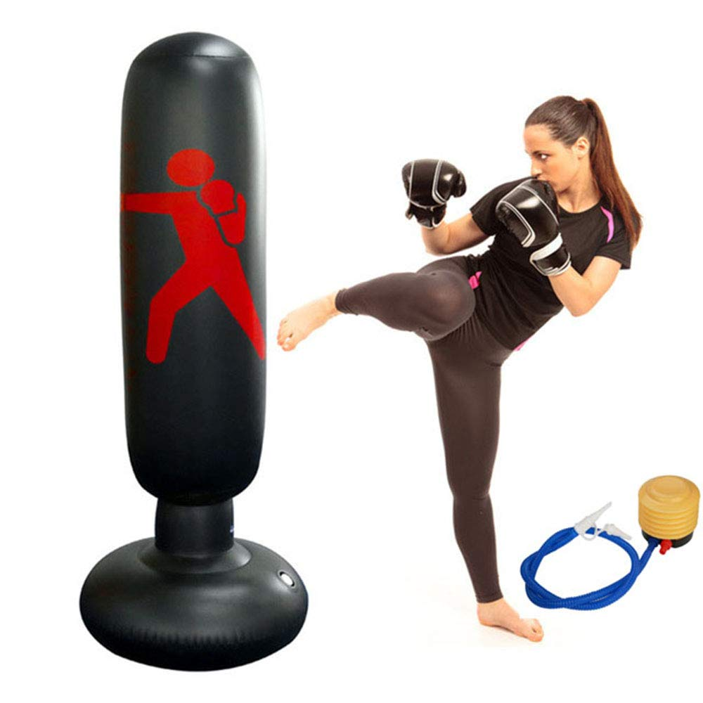 Wolfsport Fitness Punching Bag Heavy Punching Bag Inflatable Punching Tower Bag Freestanding Children Fitness Play Adults De-Stress Boxing Target Bag 5.25ft (Style 1) by Wolfsport