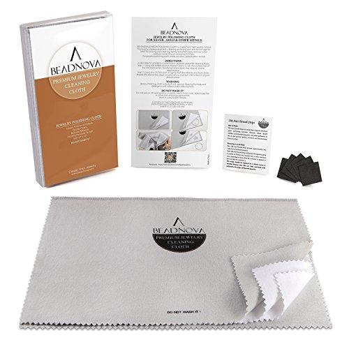 BEADNOVA Silver Polishing Cloth For Jewelry Silver Cleaning Cloth Polishing Cloth, 11.8 x 7.5 Inches