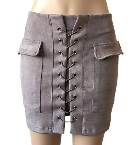 Legendaryman t Jupes Femme Fashions Couleur Unie Moulante Package Hanche Mini Jupe Elegante Traverser Bandage Court Jupes de Cocktail Party Soire Gris
