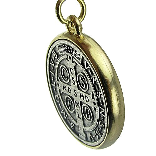 Medalla De San Benito Saint St Benedict Two Tone Medallion Antiqued Silver & Gold Finish 35mm Medal