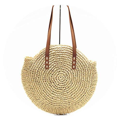 - Round Straw Beach Bag Vintage Handmade Woven Shoulder Bag Raffia circle Rattan bags,Beige