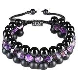 CAT EYE JEWELS 8mm Natural Healing Stones Beads Bracelet Triple Layered Adjustable Macrame H009-L
